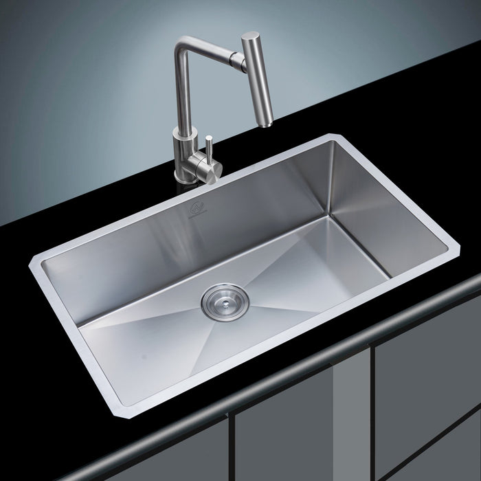 18-gauge Undermount Stainless Steel 32 in. Single Bowl Kitchen Sink myhomeandbath