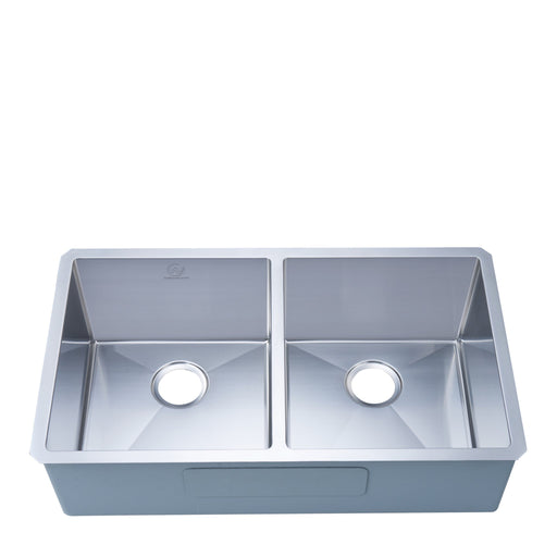 Stufurhome 16-gauge Undermount Stainless Steel 33 in. Double Bowl Kitchen Sink
