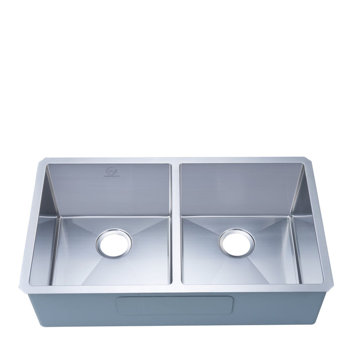 16-gauge Undermount Stainless Steel 33 in. Double Bowl Kitchen Sink myhomeandbath