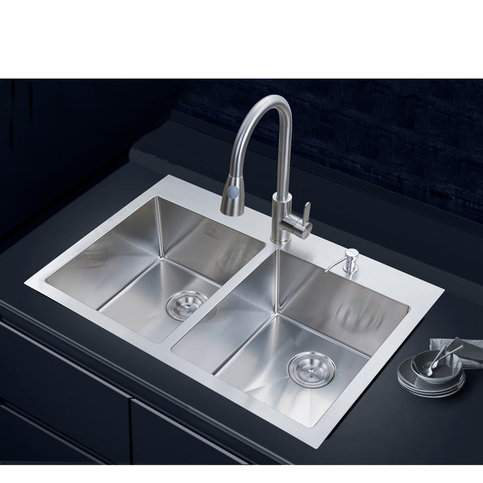 18-gauge Overmount Stainless Steel 33 in. 2-Hole Double Bowl Kitchen Sink myhomeandbath