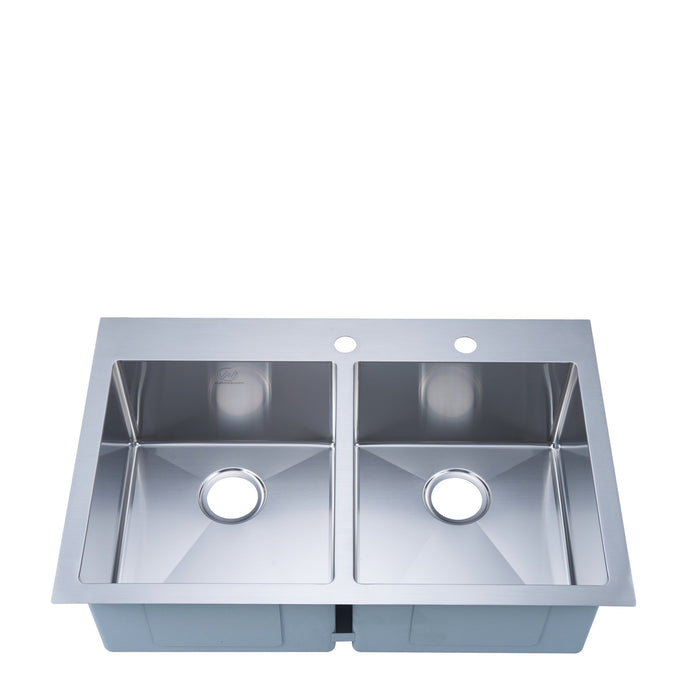 Stufurhome 18-gauge Overmount Stainless Steel 33 in. 2-Hole Double Bowl Kitchen Sink