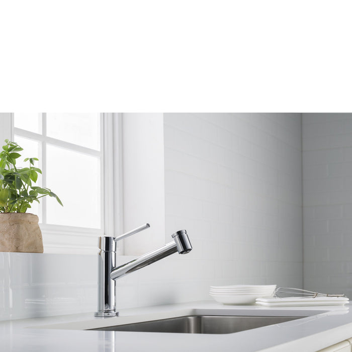 Metrolux Kitchen Faucet Set Chrome Single-Lever Mixer w/ Spray Head myhomeandbath