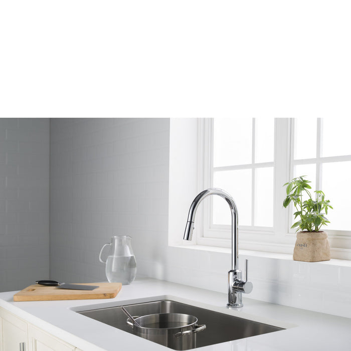 Brighton Kitchen Faucet w/ Spray Head Gooseneck Chrome Single Lever Mixer myhomeandbath