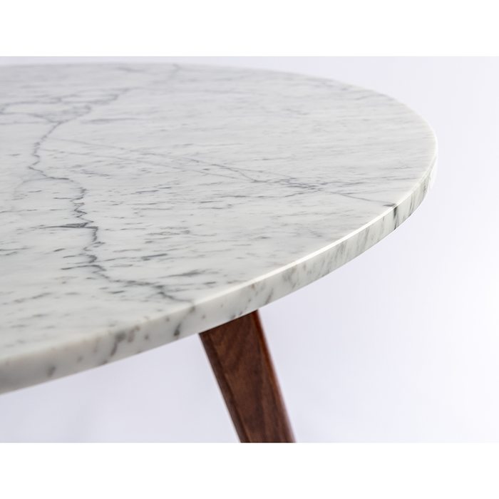 "Avella 31"" Round White Marble Dining Table with Walnut Legs myhomeandbath"