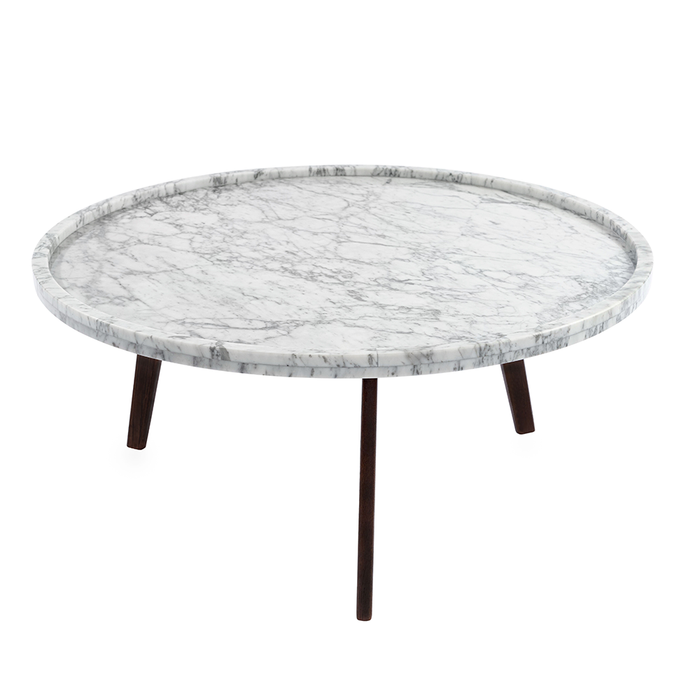 "Cassara 31"" Round White Marble Coffee Table with Walnut Legs myhomeandbath"