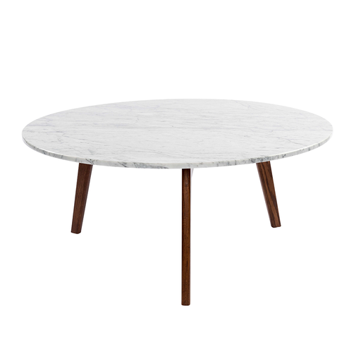 "Stella 31"" Round White Marble Coffee Table with Walnut Legs"