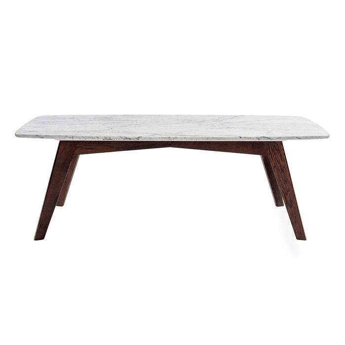 "Faura 18"" Rectangular White Marble Table with Walnut Legs myhomeandbath"