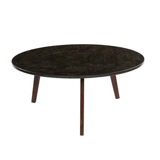 "Stella 31"" Round Black Marble Coffee Table with Walnut Legs"