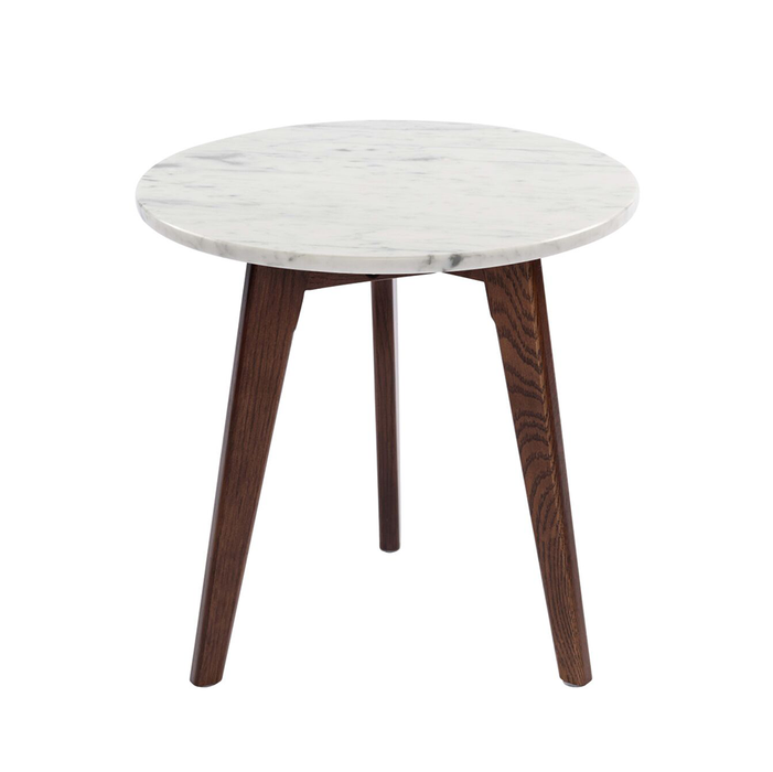 "Cherie 15"" Round White Marble Table with Walnut Legs myhomeandbath"