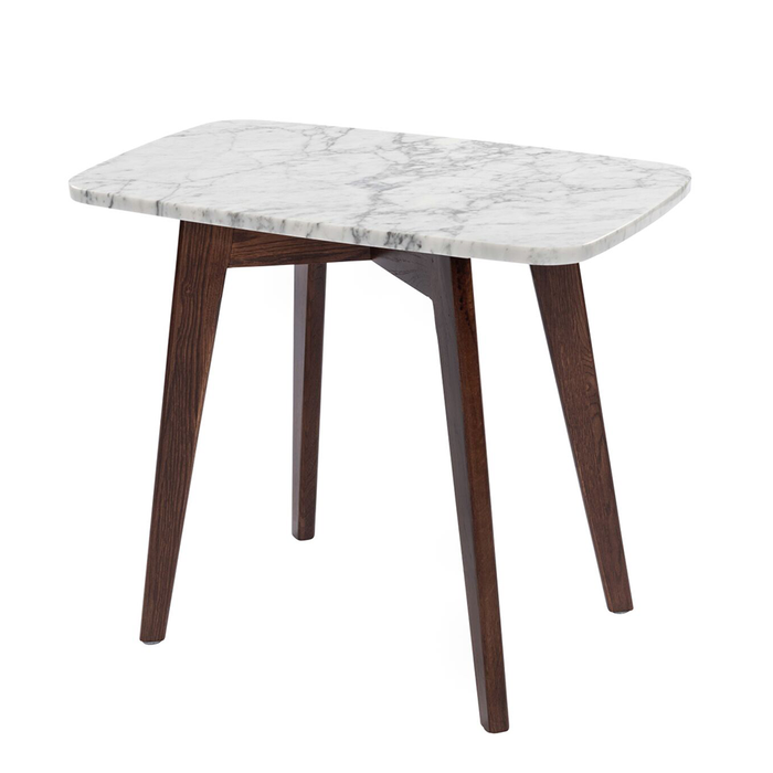 "Cima 12"" x 21"" Rectangular White Marble Table with Walnut Legs myhomeandbath"