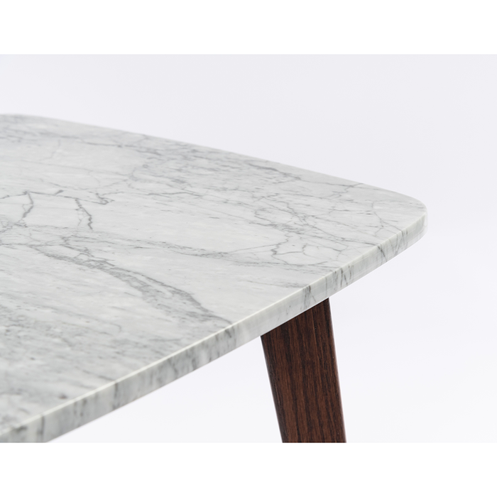 "Gavia 19.5"" x 19.5"" Square White Marble Side Table with Walnut Legs myhomeandbath"