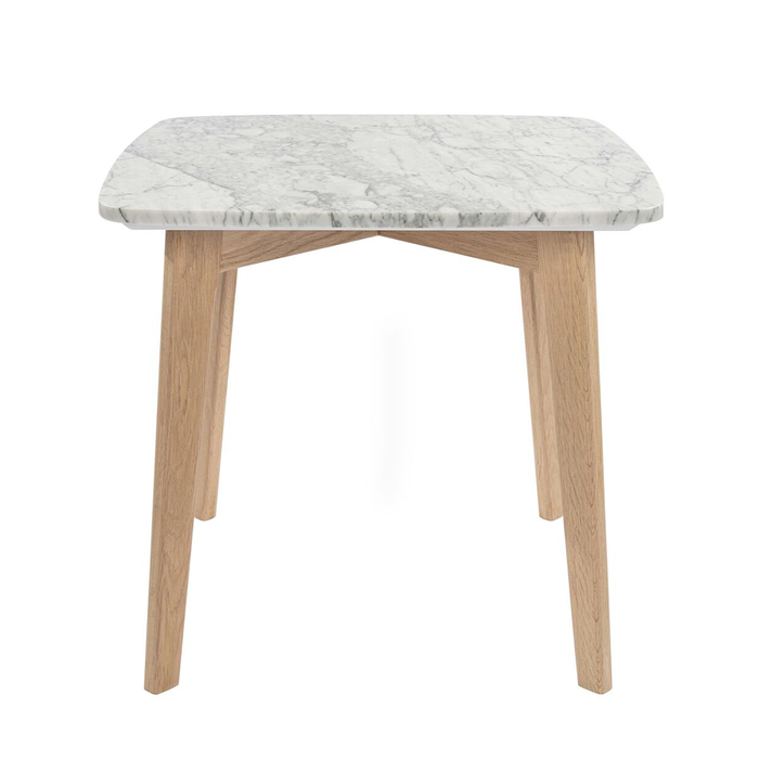 "Gavia 19.5""x 19.5"" Square White Marble Side Table with Oak Legs myhomeandbath"