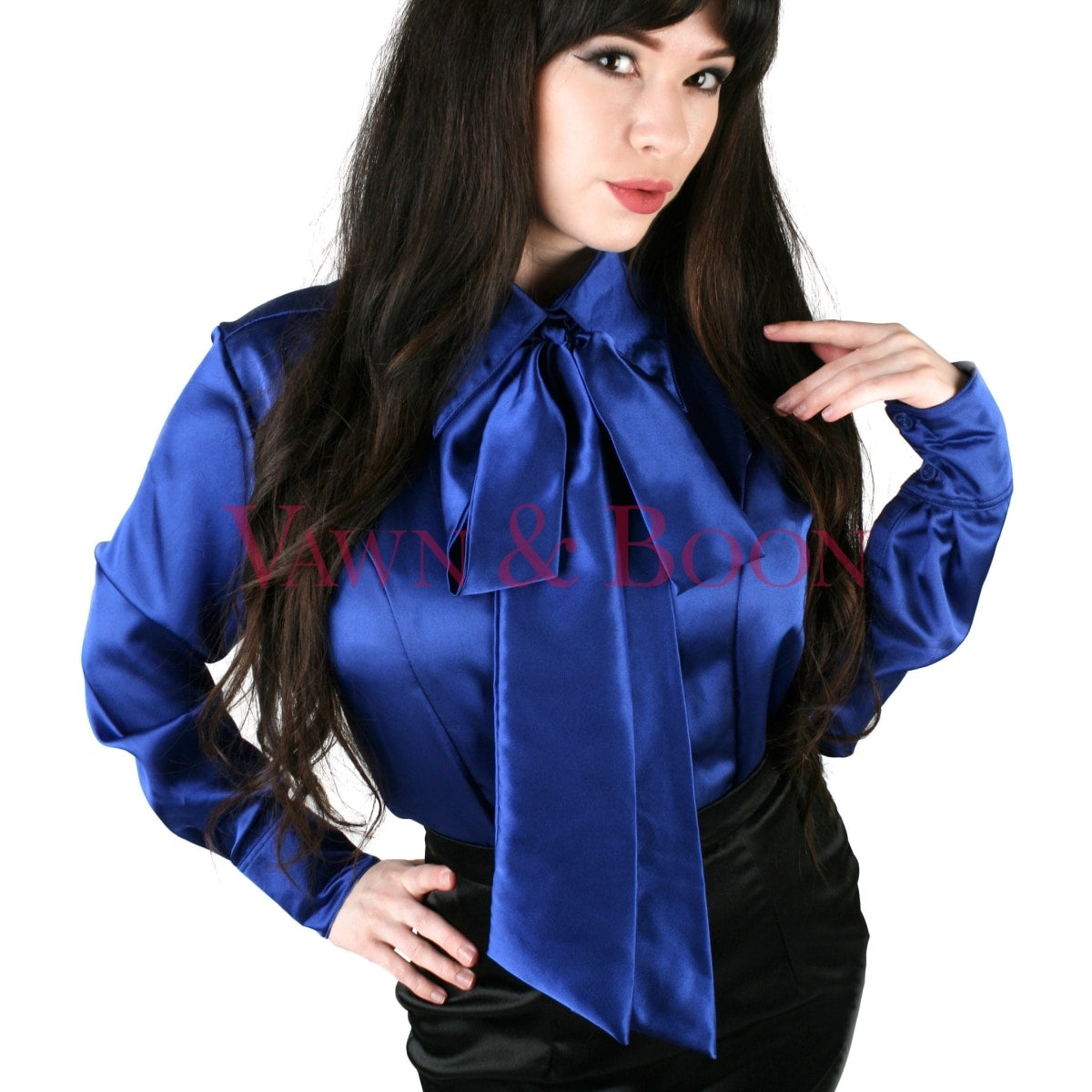 Vawn-and-Boon-blue-satin-crossdresser-blouse