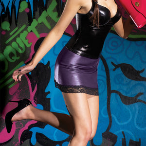 Darque Purple Wet Look Mini Skirt