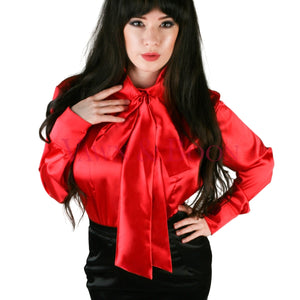 Red Satin Pussy Bow Blouse