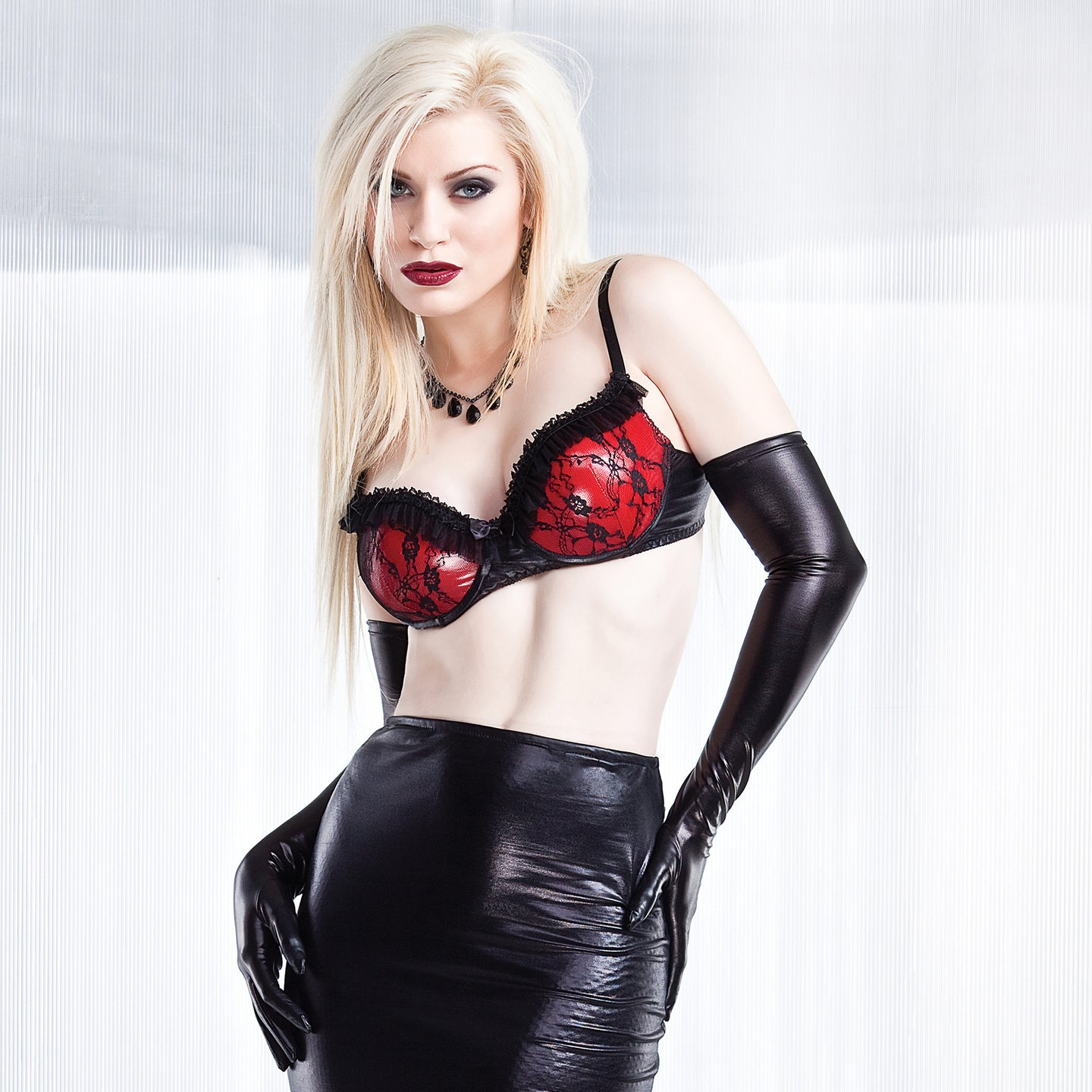 Darque Red PVC Bra