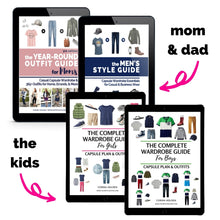 Load image into Gallery viewer, Family Bundle of Outfit Guides (Moms' + Dads' + Kids Guides) - Save 40%