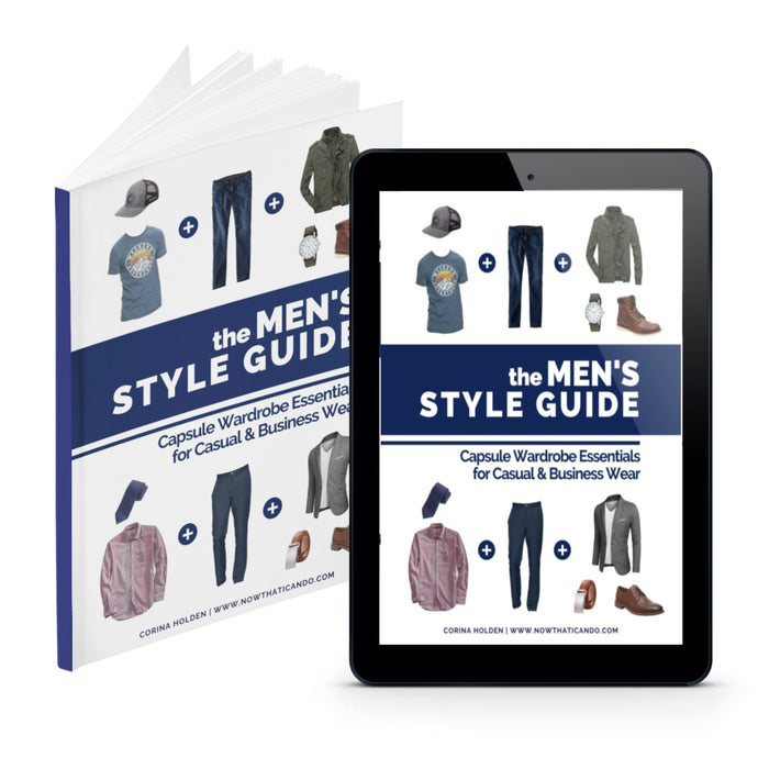 Men's style guide, minimalist capsule wardrobe essentials checklist for casual, business casual, & formal. Dressing tips, and outfit ideas for guys