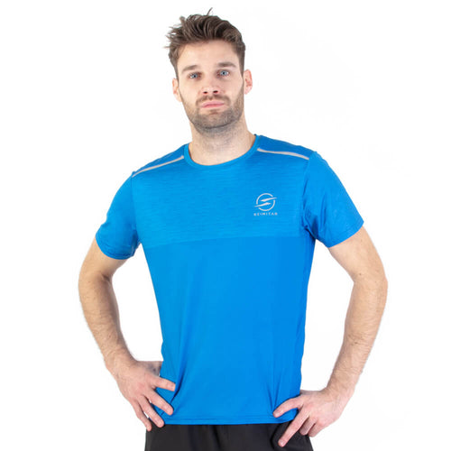 Mens Marl Blue Design Recycled Running T-shirt