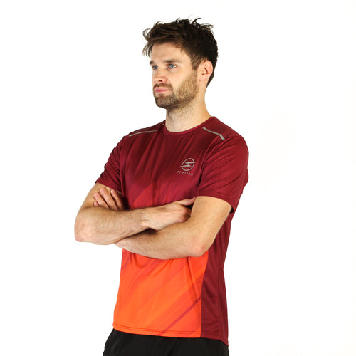 Mens Hybrid Red & Orange Design Recycled Running T-shirt