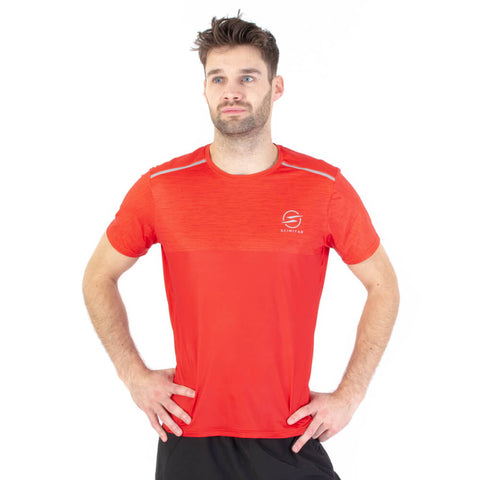 Mens Marl Red Design Recycled Running T-shirt