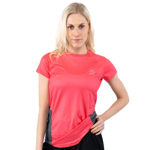 Women's Classic Coral & Grey Design Recycled Running T-shirt