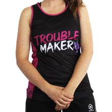 Load image into Gallery viewer, Little Miss Trouble Maker technical running t-shirts & vests