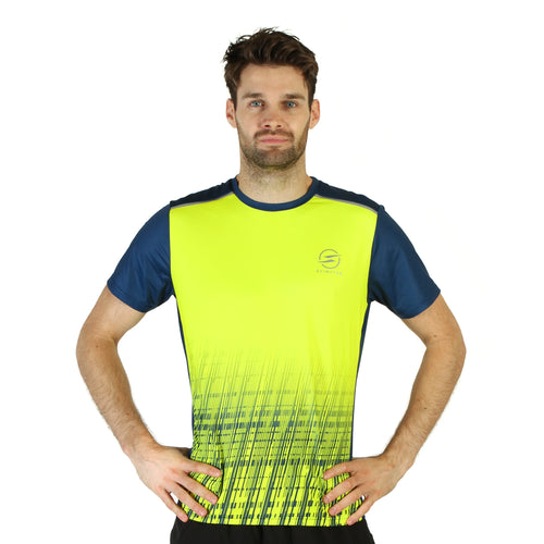Mens Digital Flouro Yellow Design Recycled Running T-shirt