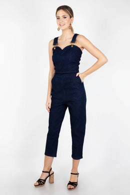 Connie fitted capri overalls denim