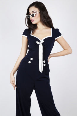Jolene navy nautical jumpsuit