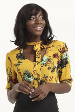 Load image into Gallery viewer, Katherine 40s Style Mustard Floral Blouse