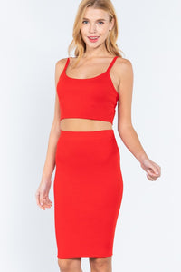 2pc set- crop tank & pencil skirt