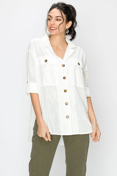 woven military style button down camp shirt