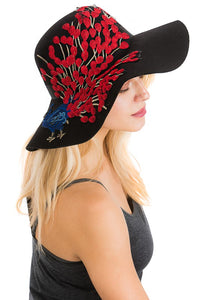 SN-1242-Cap Zone-Red Peacock Patched Floppy Hat-RK Collections Boutique