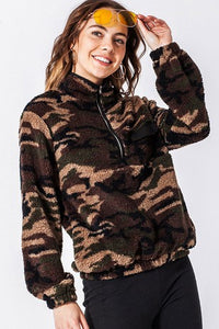 -Favlux-camo fleece half zip pullover-RK Collections Boutique