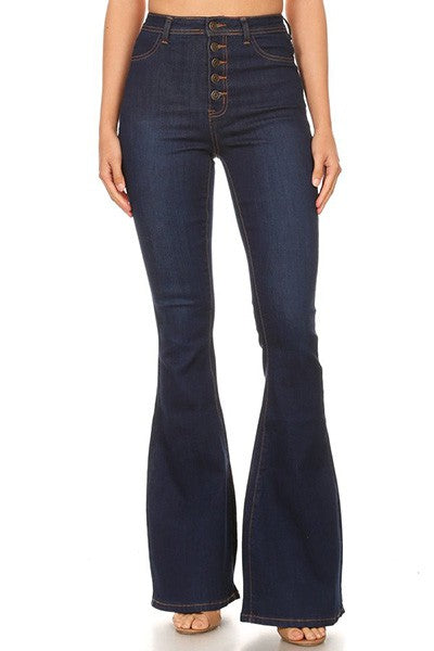 high waist stretch bell bottom jean with exposed buttons