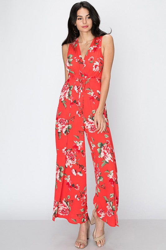 Floral print jumpsuit with tie front