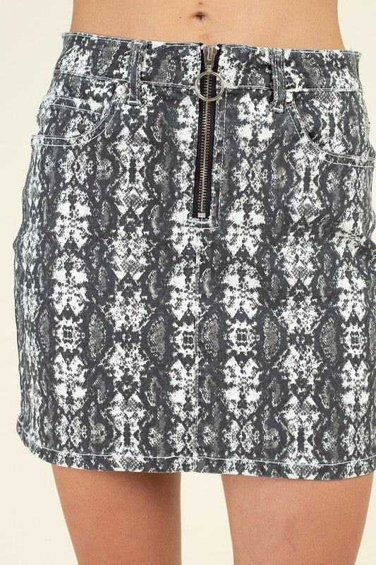 OSK05172-R-1-Fashion USA-Snake Skin Denim Skirt-RK Collections Boutique