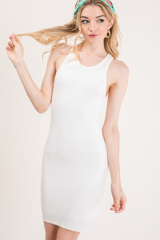 Double layered jersey tank dress
