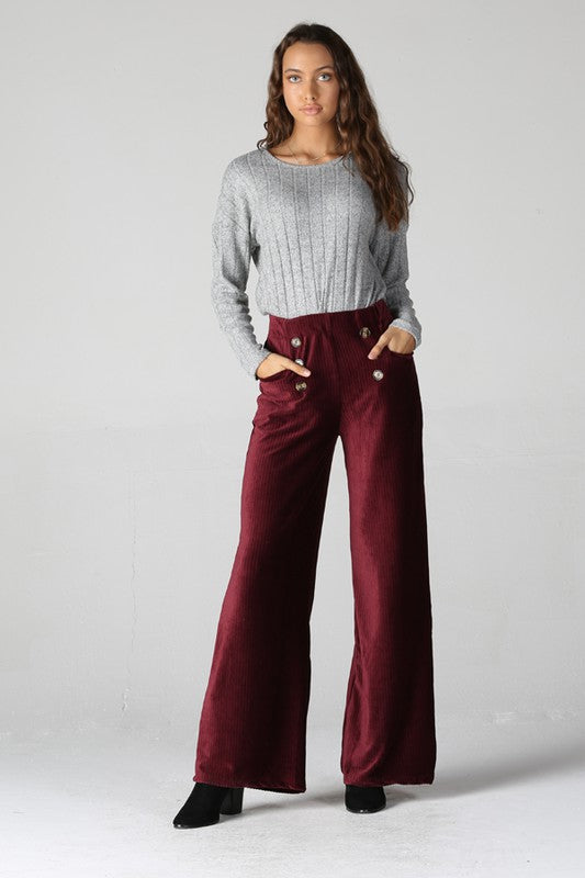 25R15-RG66-1-Angie-Corduroy high waist wide leg pant-RK Collections Boutique