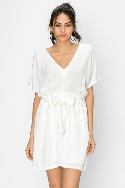 short sleeve v-neck dress with waist tie