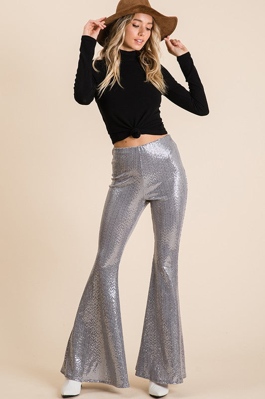 Sequin bell bottom pull on pants