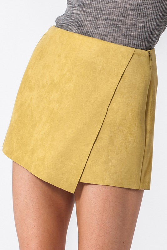 suede skort - by Favlux - available at rkcollections.myshopify.com - Gold / LARGE - Shorts