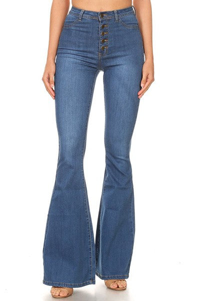 high waist medium wash stretch bell bottom jean