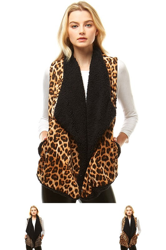 Leopard Print Vest with Fur Lining