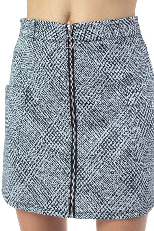 OS31204-1-Fashion USA-Plaid Front Zip Mini Skirt-RK Collections Boutique