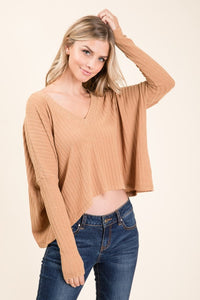 NT18506A-1-1-Lumiere-Cropped Ribbed Knit V Neck Top-RK Collections Boutique