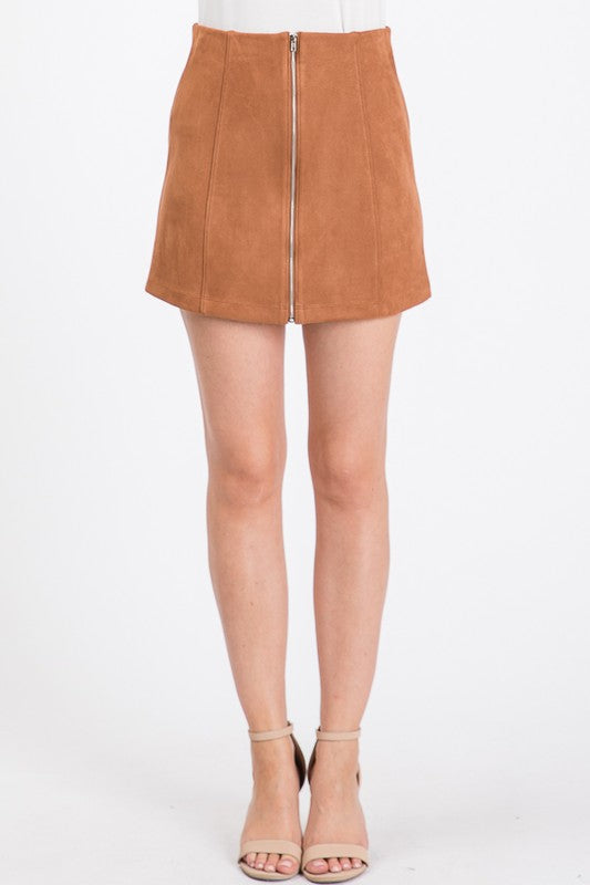 Suede Pencil Mini Skirt - by Must Have - available at rkcollections.myshopify.com - Cognac / LARGE - Skirts