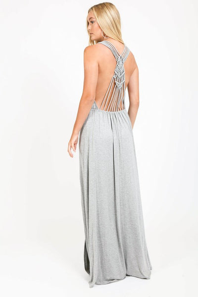 Jersey maxi dress with crochet open back