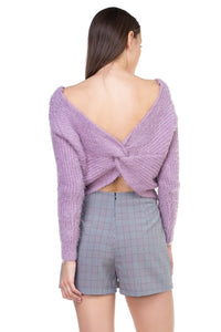 OSW6751-1-Fashion USA-Fuzzy Twist Back Sweater-RK Collections Boutique